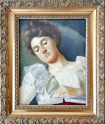 Antique Early 20Th Century Oil On Board Portrait Of A Lady Reading Art Deco