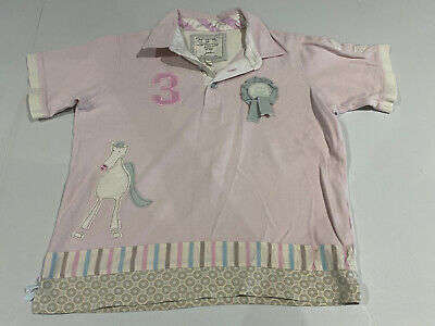 Girls Joules Pink Horse Polo Tshirt Age 10-11