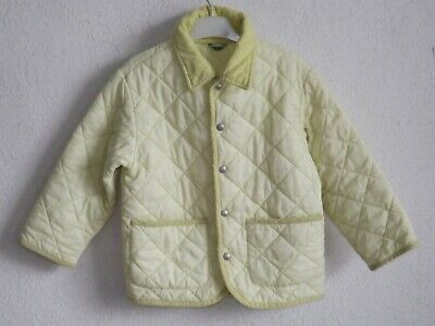 United Colors of Benetton girls light yellow quilted parka jacket size 4 years