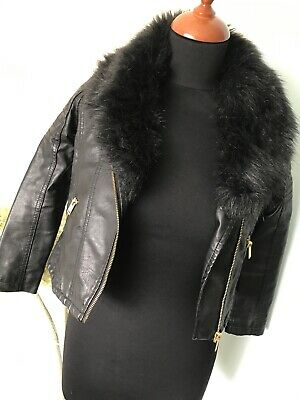 Stunning Faux Leather Jacket Detachable Collar Black 7-8Yrs Excellent Condition