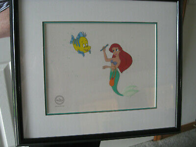 Disney Ariel and Flounder Serigraph Cel Little Mermaid Framed with COA LE 2500
