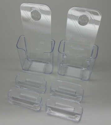 MaxGear 6 Pack TWO 4 Inch Acrylic Brochure Holder Wall Mount FOUR Business Card