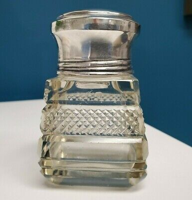 Antique English Cut Crystal 925 Sterling Silver Perfume Scent Bottle 1902 London