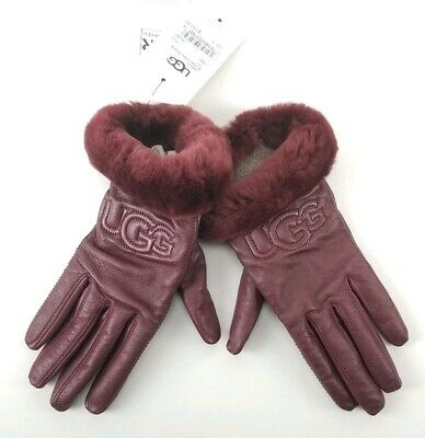 $110 UGG Leather Logo Gloves Size Small Real Fur Cuffs Port Red New