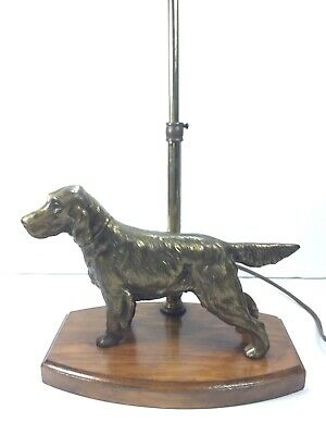 Dog Lamp Brass/Bronze Finish Figural Hunting With A Wooden Base