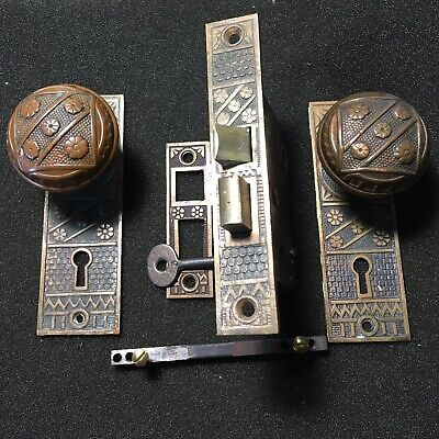 Antique F C Linde Solid Brass DoorKnob &  Backplates, Mortise Lock And Strcker