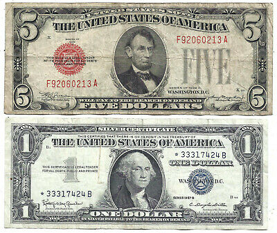 1928C $5 RED! 1957B $1 **STAR** 2 Notes! Old US Paper Money Currency!