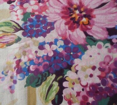 Antique French Large Bold Lilac Floral Cotton Fabric ~ Purple Yellow Pink Blue