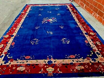 Auth: 30's Antique Art Deco Chinese  Huge  Nichols  11x17  Blue Wool Beauty   NR
