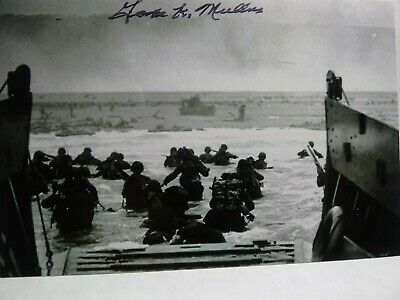 GEORGE MULLINS Hand Signed Autograph 4X6 PHOTO -  WWII D-DAY UTAH BEACH