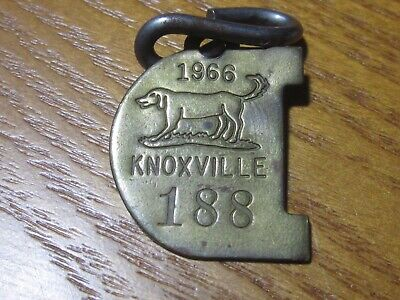 Vintage 1966 Knoxville Tennessee Dog License Tax Tag