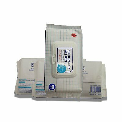 60 pcs White Non Alcohol Scent Free Antibacterial Wet Wipes Protective Equipment