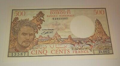 Scarce UNC Djibouti ND (1979, 1988) 500 Francs with Sig. Banque Nationale Type