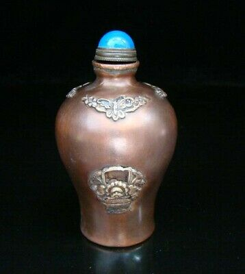 Collectible Handmade Carving Statue Copper Brass Snuff Bottles NO-05