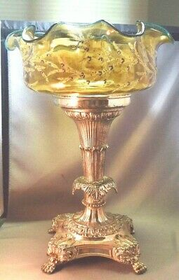 Silver Plated Paw Footed Stand & Art Glass Enameled Antique Brides Basket