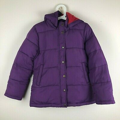 Mini Boden Girls Purple Fleece Lined Quilted Hooded Jacket Coat Age 11-12 Years