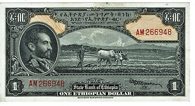 Ethiopia K# 12a (1945 issue) one dollar bank note with scarce Blowers signature
