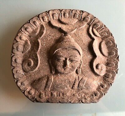 Antique Early 20th Century Buddha Plaque Genuine Hand Wood Carving Used