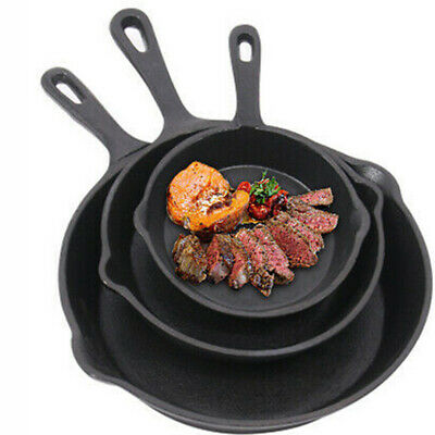 Cast Iron Cookware Frying Pan Grill Backing Pot Skillet BBQ Serving Cooking Plat