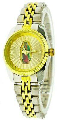 New Old Stock Women's Watch Two Tone Virgin Mary Lady Guadalupe Dial Fluted Bezl