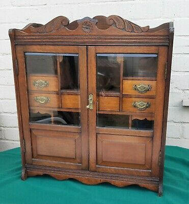Large Antique Victorian Oak Smokers Cabinet Reg 1894 + Key Great Condition