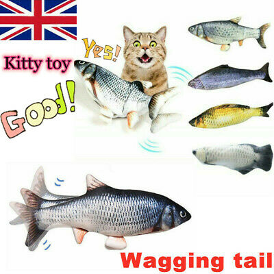 USB Electric Interactive Pet Cat Kitty Toy Wagging Fish Realistic Plush Catnip