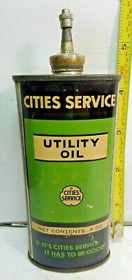 1920-40's-(4oz.)VINTAGE CITIES SERVICE UTILITY OIL TIN CAN HANDY OILER LEAD TOP