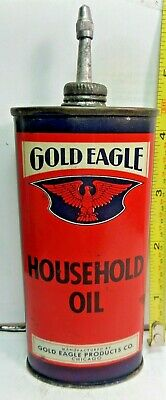 1920-40's-(4oz.)VINTAGE GOLD EAGLE HOUSEHOLD OIL TIN CAN HANDY OILER LEAD TOP