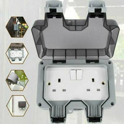 Outside Weatherproof Outdoor 13A 2 Gang Twin Switched Double Socket IP66