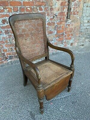 Antique Late Victorian Bedroom Commode Chair - Armchair With Rattan Back / Seat