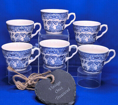 Vintage Blue Willow China * 6 x Tea Cups * 1970s English Ironstone Tableware VGC