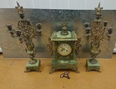 Antique French Green Onyx Mantle Clock Gilt Candelabra Candlesticks Garniture
