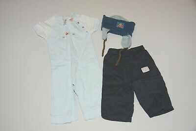 Bundle - Blue top, trousers and hat - age 3 to 6 months (3 items)