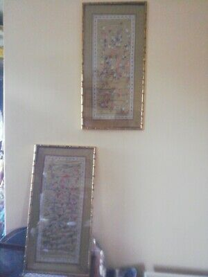 Pair Of Vintage Antique Chinese Silk 100 Children Hand Embroidery Wall Panels