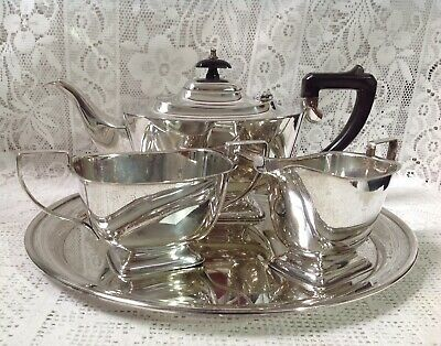 Antique English deMONTEFORT Four Piece Silver Plated Tea Service
