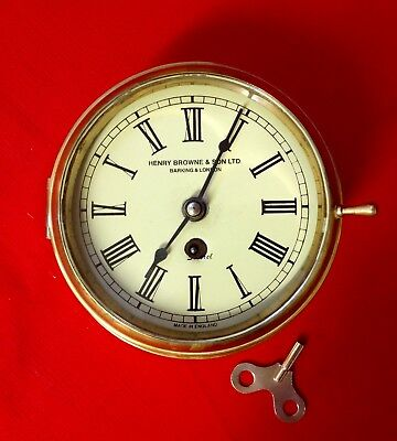 Antique Henry Browne & Sons Ltd. SESTREL Ships Bulkhead Clock Solid Brass Vgc