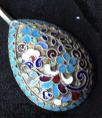 Antique Russian Silver Gilt & Polychrome Cloisonné Enamel Spoon by D P Nikitin