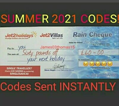 5 × NEW Jet2Holidays £60Rain Cheque voucher MOST UP TO DATE CODES!!