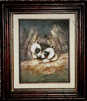 SWEET, WELL FRAMED PAINTING of a BABY RACCOON - QUITE CUTIE & ADORABLE!!