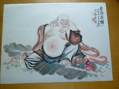 Vintage Original Chinese Brush Painting Watercolour - Wandering Buddha