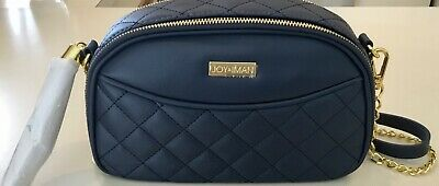 JOY & IMAN Diamond Quilted Genuine Leather Crossbody with RFID Navy New