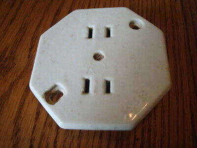 Vintage / Antique White Porcelain Electrical Outlet Receptacle Plate Box Cover