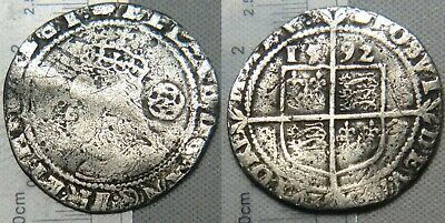 England Elizabeth I 1592 sixpence 6 pence Hammered Silver Coin Sp# 2578B