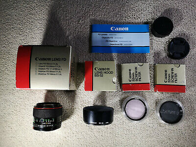 Canon 50mm F/1.2 L FDN Lens F1.2 FD Boxed +BS52 Hood +2x Genuine Canon Filters