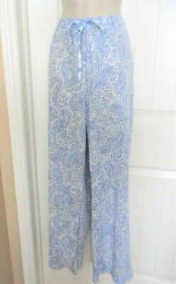 Croft & Barrow, Blue/White/Gray Paisley Lounge Sleep Pant, Cotton/Poly, L, NWOT