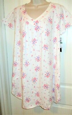 ARIA, White w/Floral Print Sleepshirt, V-Neck, Angel Slv, 100% Cotton, L, NWT