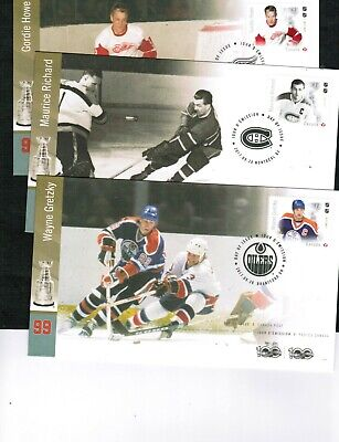 "CANADA 2017  FAMOUS HOCKEY PLAYER ""P"" stamp 6 FDC cat #new  $9.00++ MNH  BOX 548"