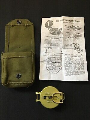 Vintage Military Engineer Lensatic Directional Compass Pouch Instructions Army