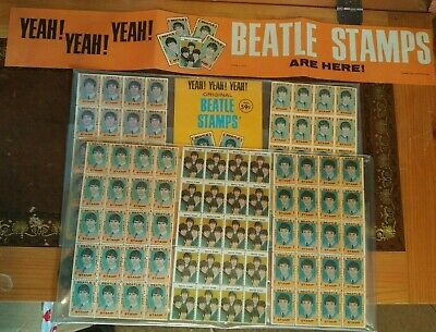 Beatles  Stamps with Shop Promotion Banner