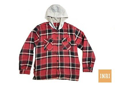 Young Usa Red Buffalo Checks Flannel Hoodie Hood Large Coat